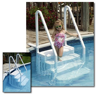 best above ground pool stairs and ladders best above ground pools - Above Ground Pool Outside Steps