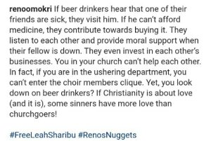"""Some Sinners Have More Love Than Churchgoers"" – Reno Omokri"
