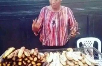 Photos Of BBNaija 2020 Housemate, Lucy Selling Roasted Plantain And Fish (Bole)