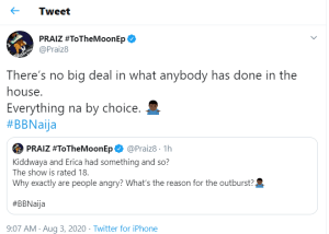 """BBNaija2020: """"There's No Big Deal, The Show Is Rated 18"""" – Singer Praiz Reacts To Erica And Kiddwaya's Steamy Session"""