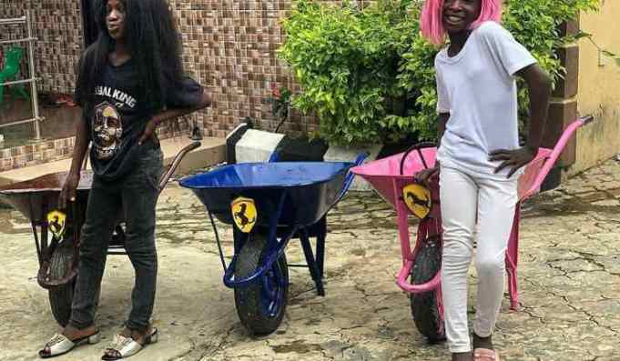 """Ikorodu Bois Challenge Dj Cuppy To A Race While Showing Off Their Own """"Ferraris"""""""