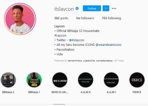BBNaija: Laycon Becomes First Housemate Ever To Hit 1m Followers On Instagram While Still In The House