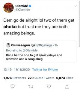 Olamide Reacts After A Fan Begged Him To Get Wizkid And Davido To Collaborate On A Song