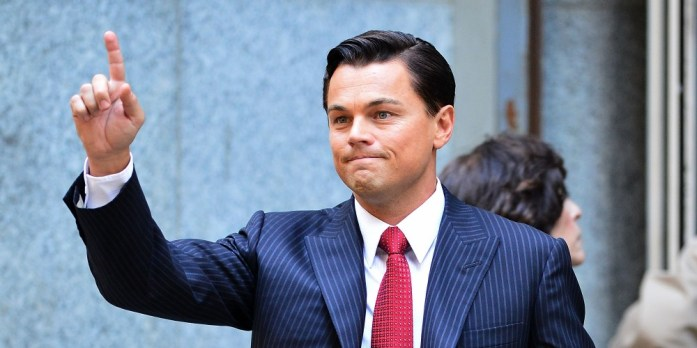 "Pinstripe Suit On Leonardo DiCaprio seen on location for ""The Wolf of Wall Street"""