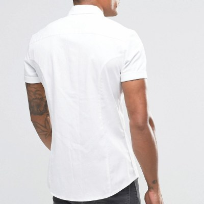 ASOS Skinny Twill Shirt 2 Pack In White And Burgundy
