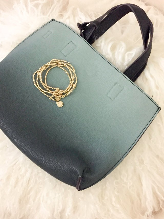 Cross body bag and bracelet