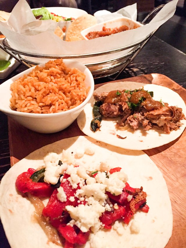 Tacos, rice, chips, yum!