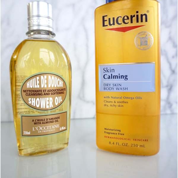 Body Cleansing Oils: L'Occitane Almond Shower Oil and Eucerin Skin Calming Body Wash