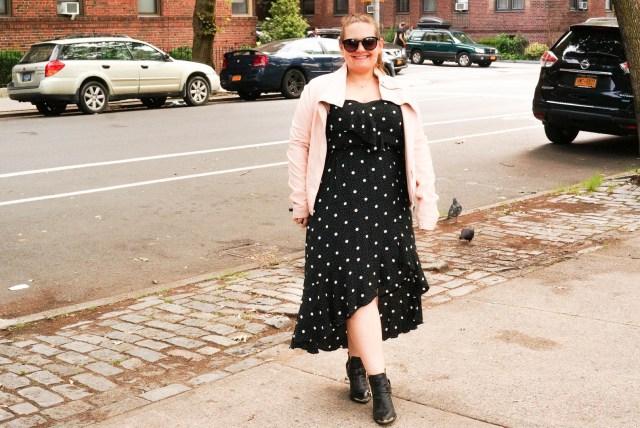 Polka Dot Dress - Pink Leather Coat