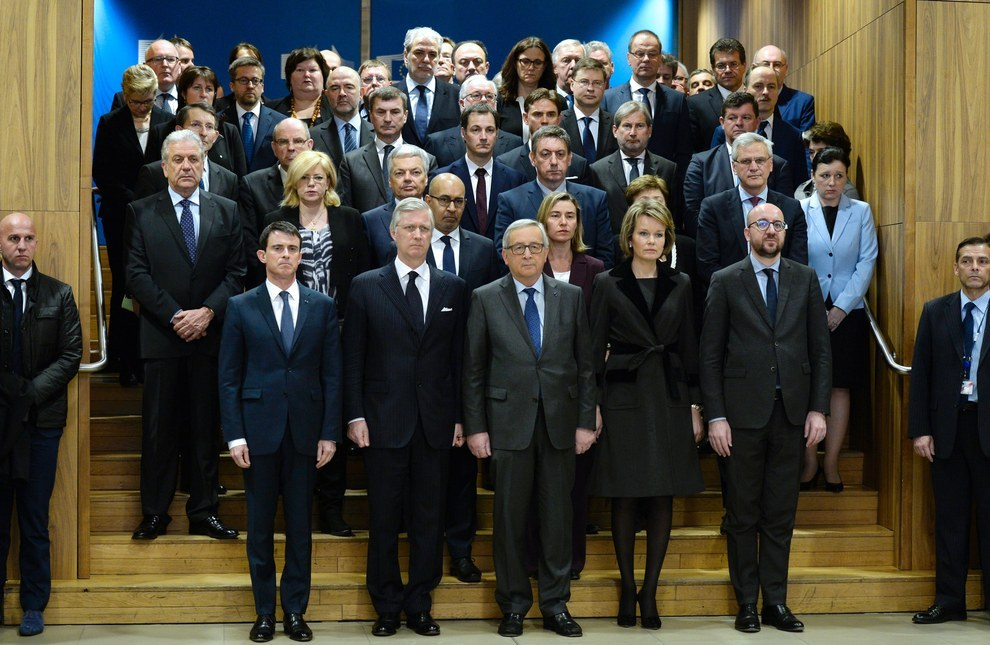 French Prime Minister Manuel Valls, King Philippe of Belgium, European Union Commission president Jean-Claude Juncker, Queen Mathilde of Belgium and Belgian Prime Minister Charles Michel hold a minute of silence with EU commissioners at the EU headquarters. Thierry Charlier / AFP / Getty Images
