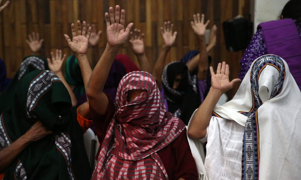 Survivors of sexual slavery at Sepur Zarco celebrate the sentences handed down to Esteelmer Reyes Girón and Heriberto Valdez Asij. Photograph: Esteban Biba/EPA