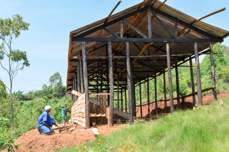 A new apiary is being constructed at the Abafitintego Cooperative to provide additional shelter to the hives. Photo credit: Harriet Tolput, 2016