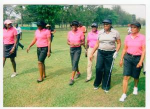 R-L: Mrs. Ransome Kuti, Dame Abimbola Fashola and some of the members of the Ikeja Golf Club