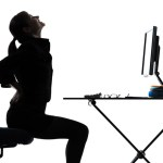 business woman sitting  backache pain silhouette