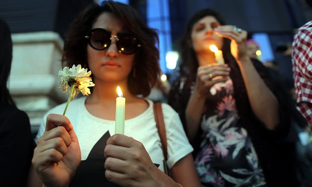 Candlelight vigil for the victims of the EgyptAir flight. Photograph: Khaled Elfiqi/EPA