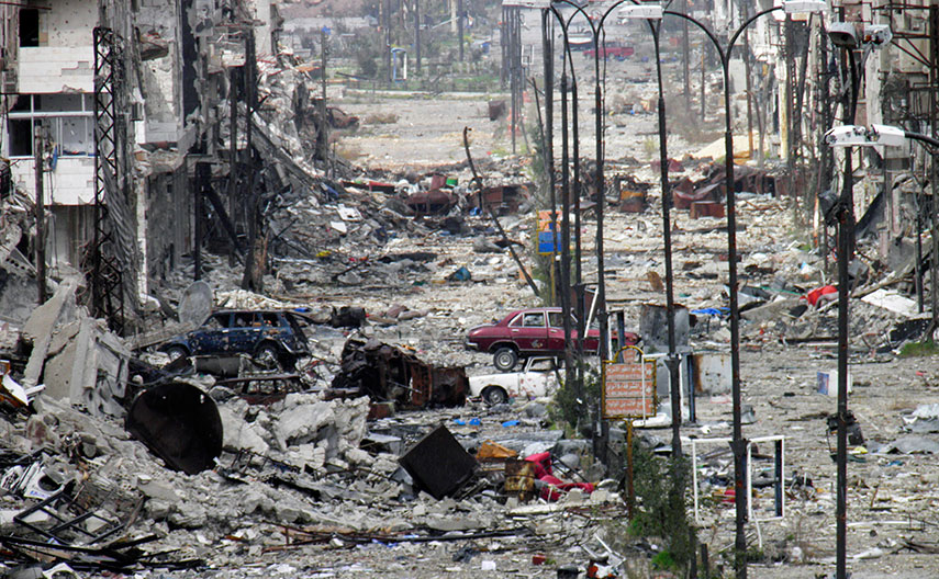 DEVASTATION: A street in Homs in March 2014. Asheqa and Trad say their house has been destroyed and they have nothing to go back to. REUTERS/Thaer Al Khalidiya