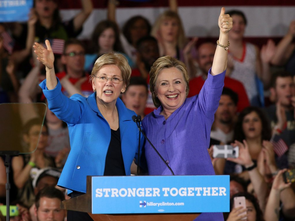 Hillary Clinton stands alongside Elizabeth Warren at a campaign rally in Cincinnati. Photograph: Aaron Josefczyk/Reuters