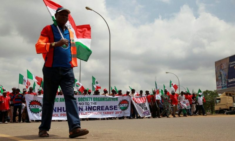 The Nigeria Labour Congress, a group of trade unions, marches during an anti-fuel price hike rally in Abuja on 19 May 2016. Photograph: Afolabi Sotunde/Reuters