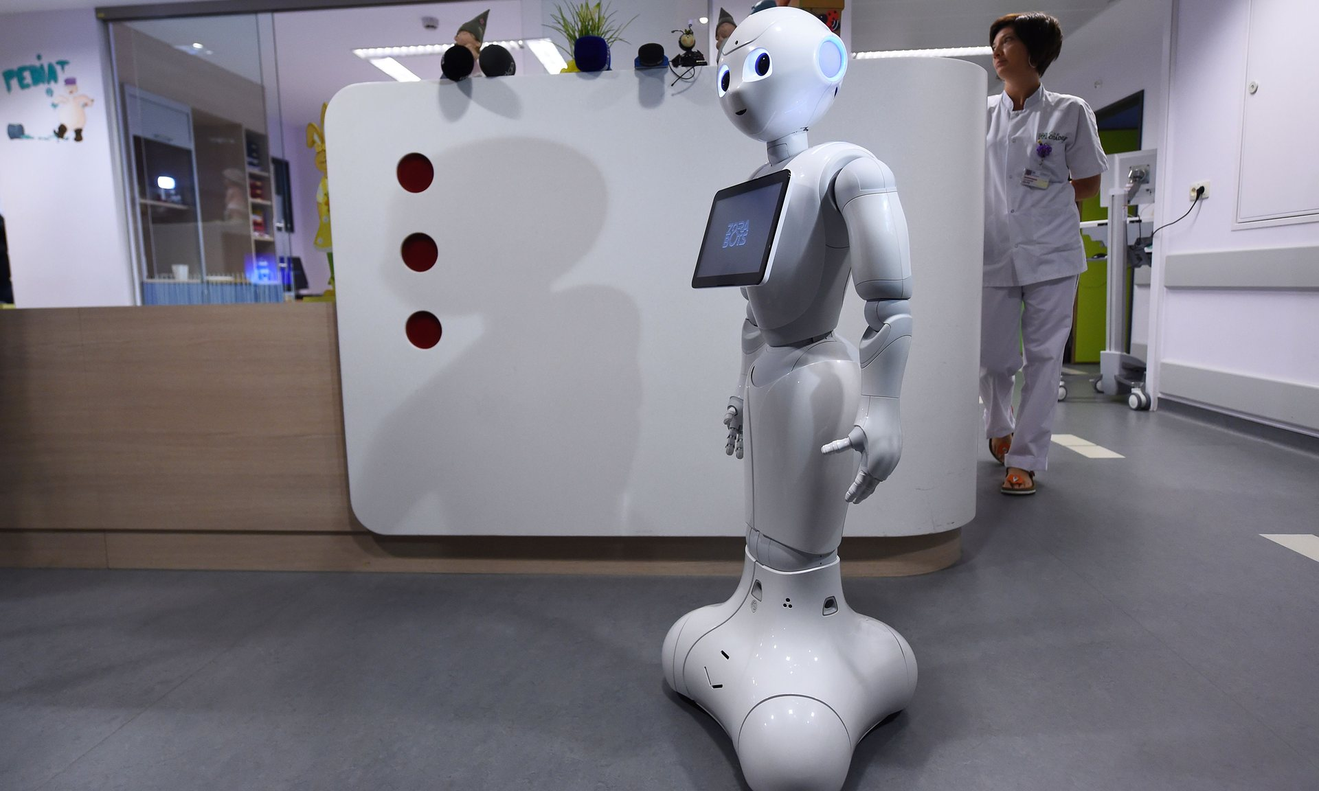 Pepper was adapted to support reception teams. Photograph: John Thys/AFP/Getty Images