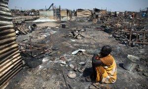 The Protection of Civilians site in Malakal, pictured on 26 February, after the attack in which 30 people were killed. A large part of the site was burned to the ground. Photograph: Albert Gonzalez Farran/AFP/Getty