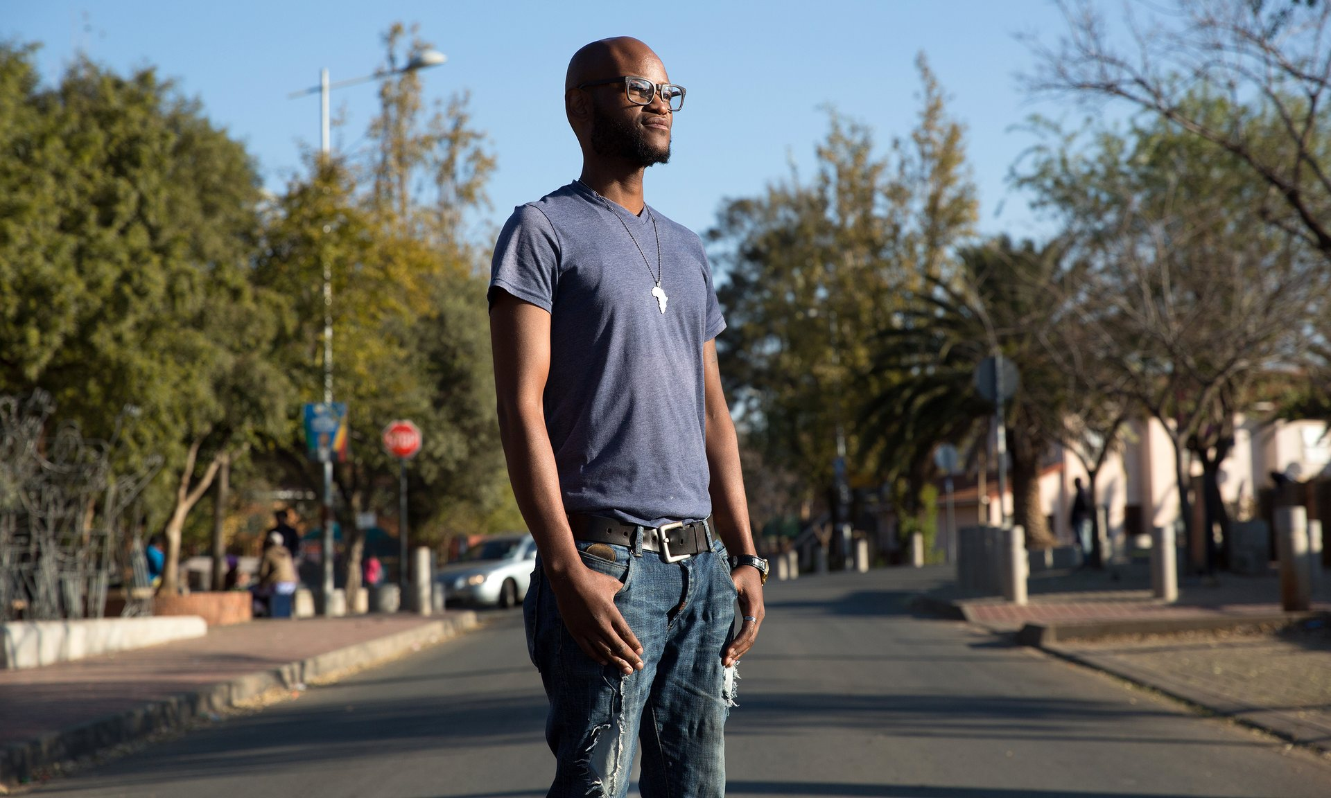 Zongezile Makhubo on Vilakazi Street, close to where his uncle was photographed during the uprising. Photograph: James Oatway for the Guardian