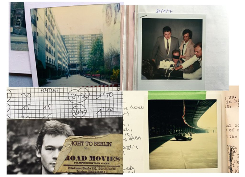 Berlin scrapbook … film publicity shots and Petit's scribbled-on Polaroids taken for continuity Composite: Chris Petit