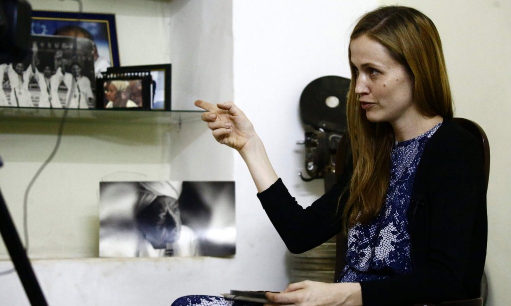 German documentary film-maker Katharina von Schroeder looks at film archives of Jadallah Jubara. Photograph: Ashraf Shazly/AFP/Getty Images