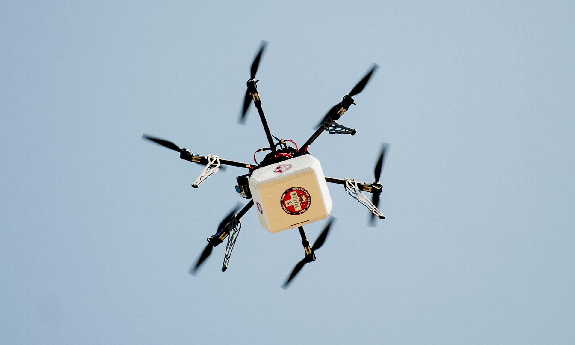 A drone sets off to deliver medicine. Photograph: Pete Marovich/Bloomberg/Getty
