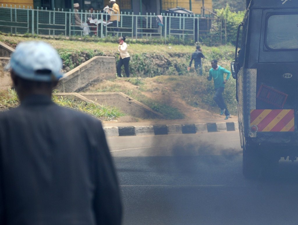 Smoke belches from a bus in Nairobi. Photograph: Tony Karumba/AFP/Getty Images