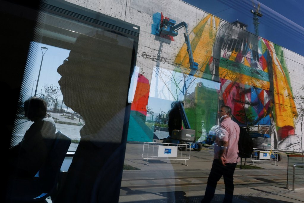 Reflections of a mural on Rio's Olympic Boulevard. Photograph: Bruno Kelly/Reuters