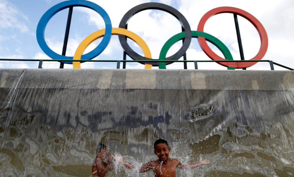 Olympic rings at Madureira Park in Rio de Janeiro. Is the country ready for another major sporting event? Photograph: Bruno Kelly/Reuters