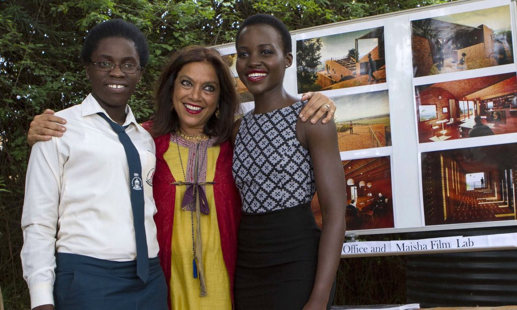 Girls on film: with director Mira Nair and Lupita Nyong'o, who plays Phiona's mother in the new film. Photograph: Isaac Kasamani/AFP/Getty Images