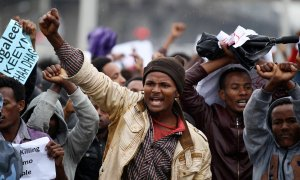 Protesters chant slogans during a demonstration over what they say is unfair distribution of wealth in the country at Meskel Square in Ethiopia's capital Addis Ababa. Photograph: Tiksa Negeri/Reuters