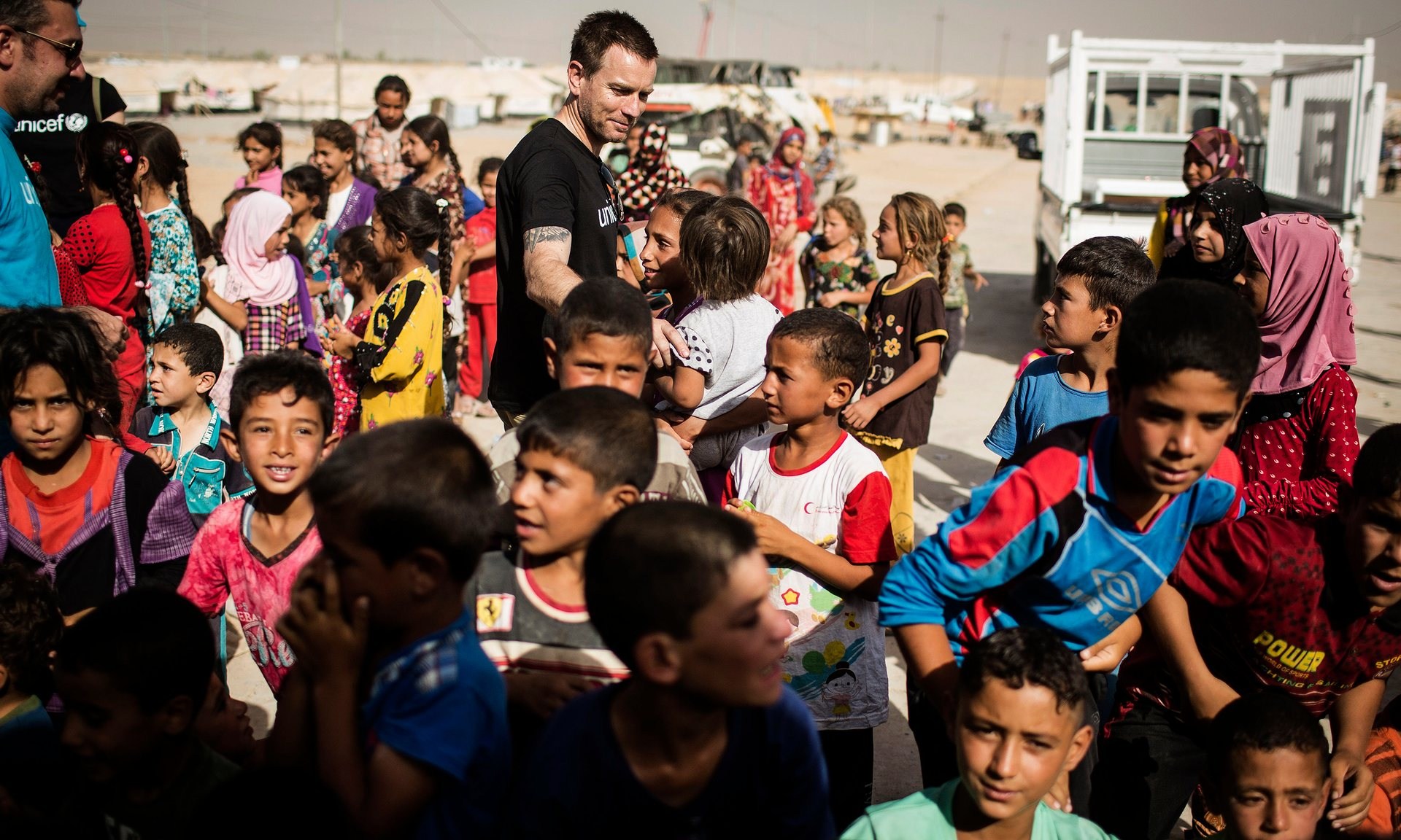 Ewan McGregor visits Debaga IDP camp in northern Iraq in July 2016. Photograph: Siegfried Modola/Unicef/PA