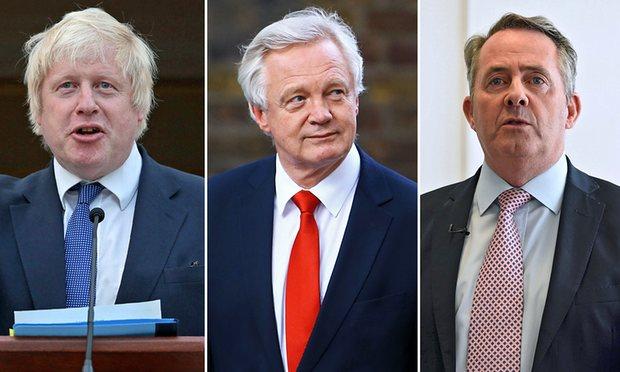 The three Brexiteers – (from left) Boris Johnson, David Davis and Liam Fox