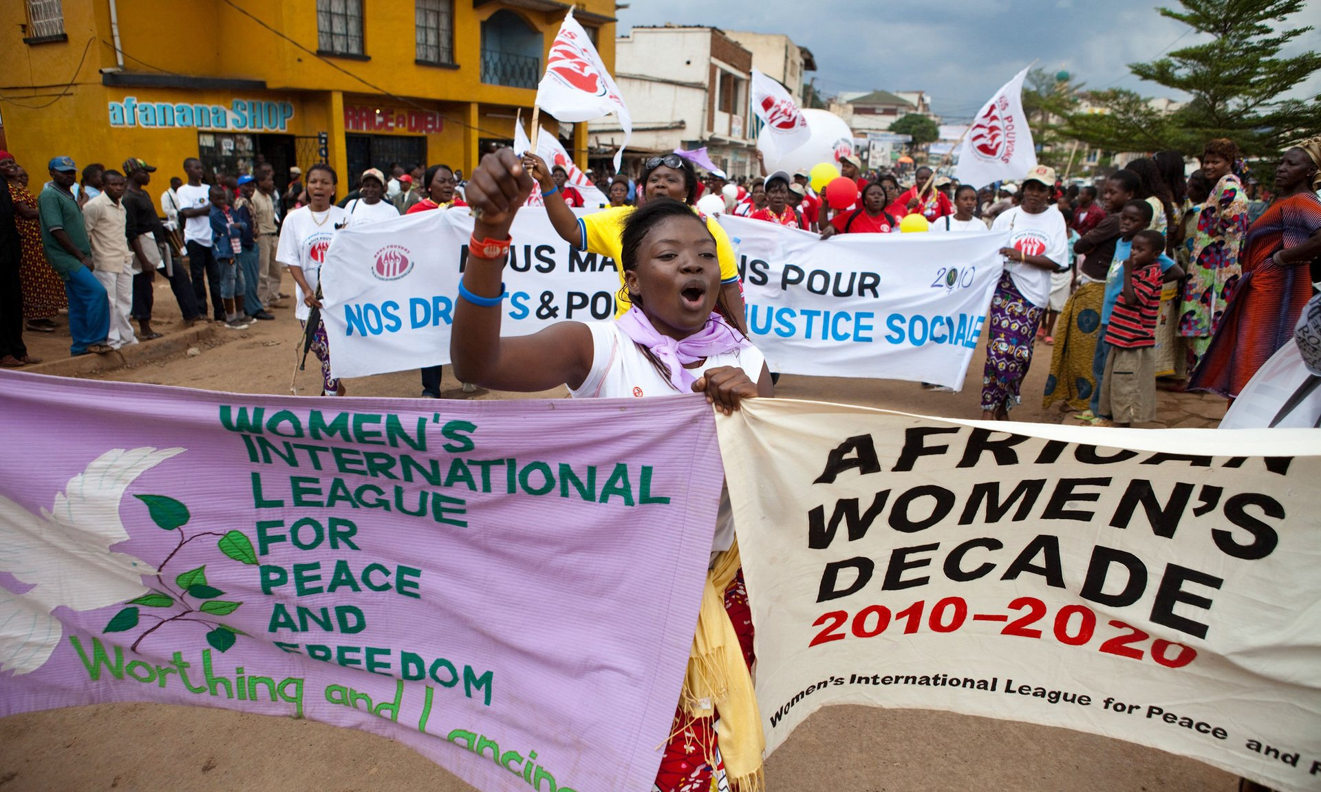 Women in Bukavu, in the Democratic Republic of the Congo's South Kivu province, participate in the World March of Women in October 2010. Photograph: Gwenn Dubourthoumieu/AFP/Getty Images