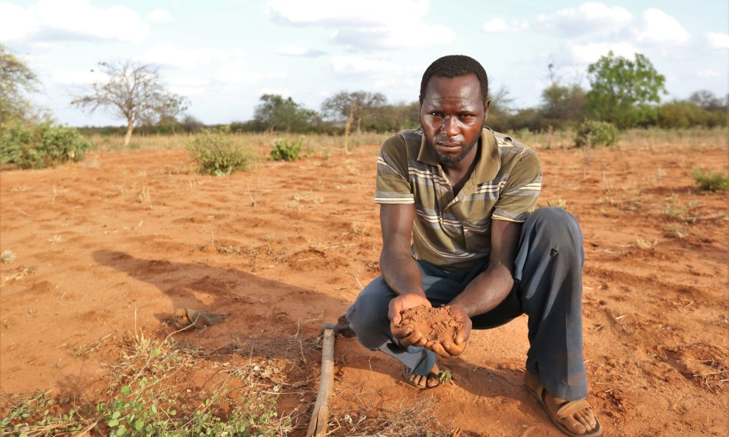 The UN is calling for more aid to southern Africa to help farmers like Peter, pictured here in Kenya, to be spent on drought-resistant seeds. Photograph: Farm Africa