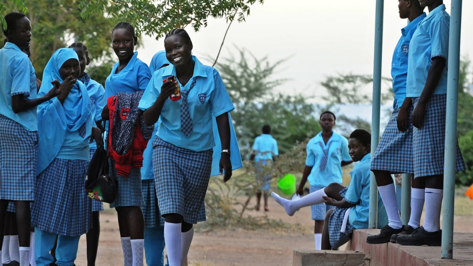 Esther Nyakong, 18, and her schoolmates return to the classroom at Morneau Shepell boarding school for girls, near Kakuma refugee camp. © UNHCR/Anthony Karumba