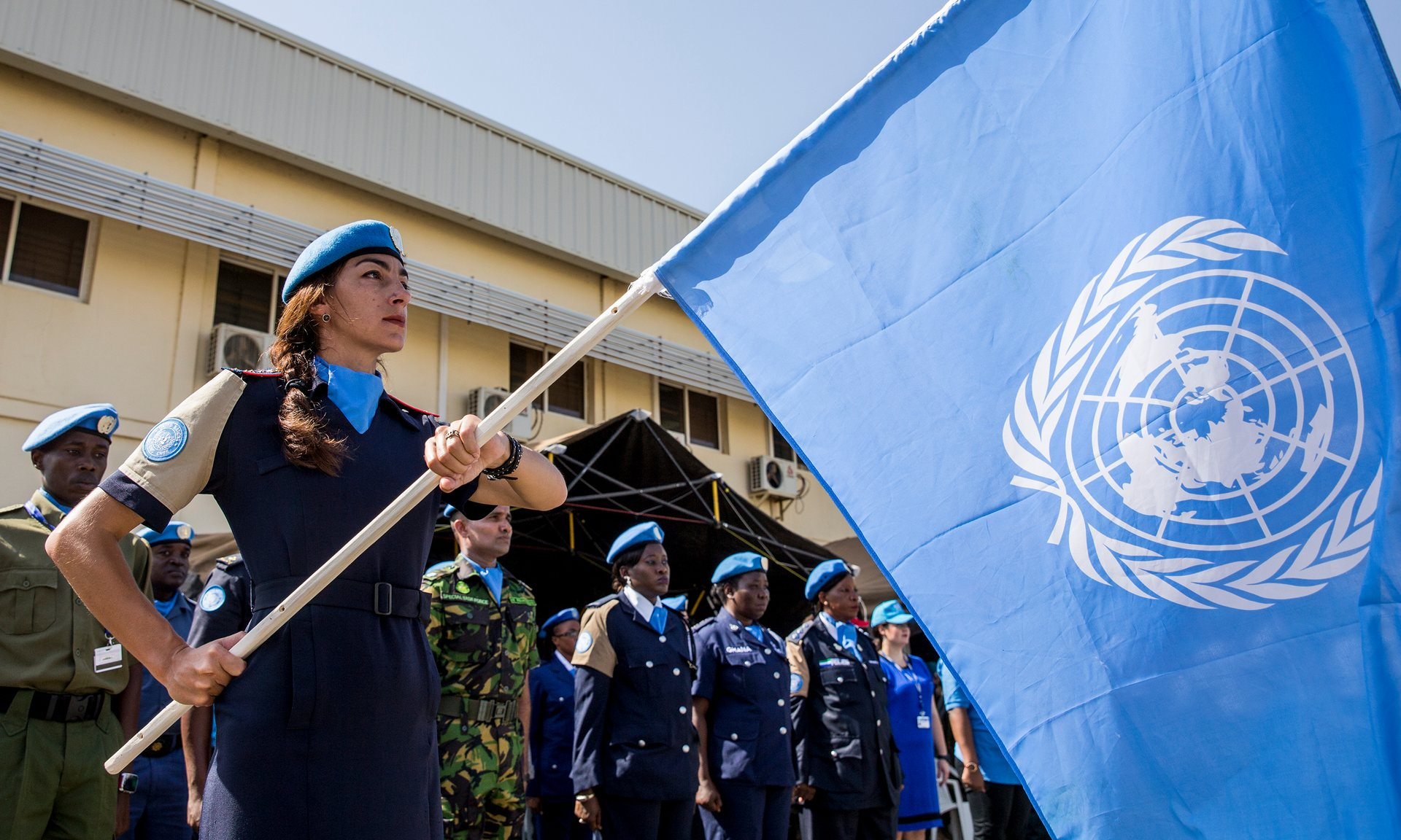 UN police officers in Juba, South Sudan. In some countries, social taboos make it impossible for male soldiers to communicate with women, underlining the vital role of female peacekeepers. Photograph: JC McIlwaine/UN Photo