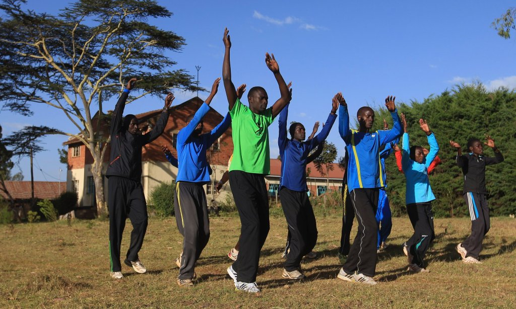Double Olympic 800m champion David Rudisha leads a training session at St Patrick's Iten high school. Photograph: Michael Steele/Getty Images