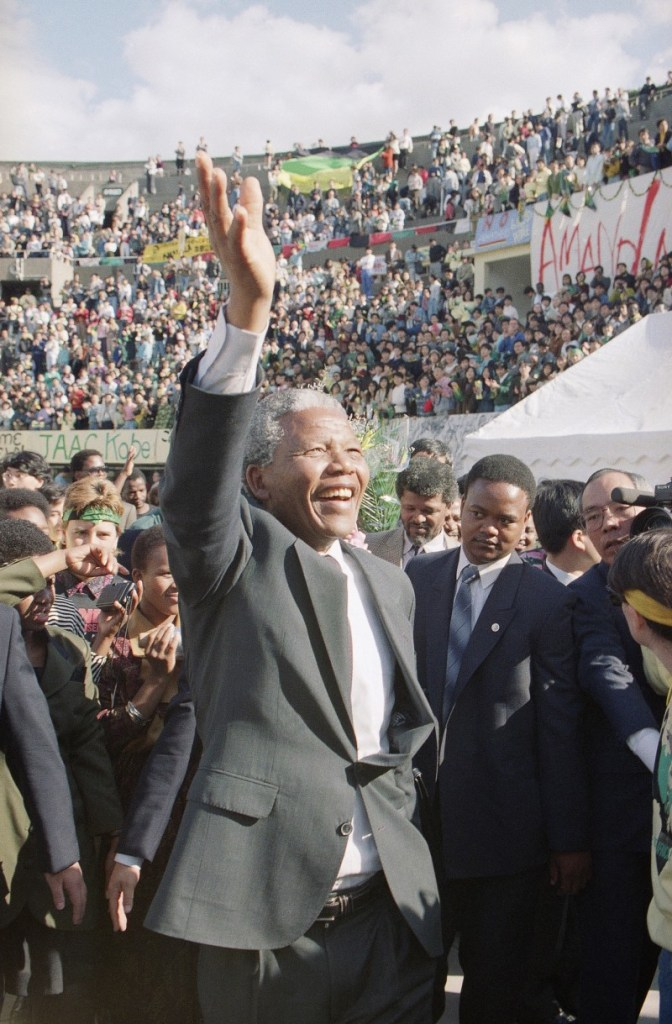 Nelson Mandela attends a rally in Japan in October of 1990, just months after his release from prison in South Africa.