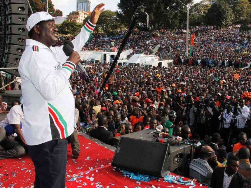 NASA Coalition presidential candidate Raila Odinga addresses the crowd during his inauguration at Uhuru Park on April 27, 2017. /Jack Owuor
