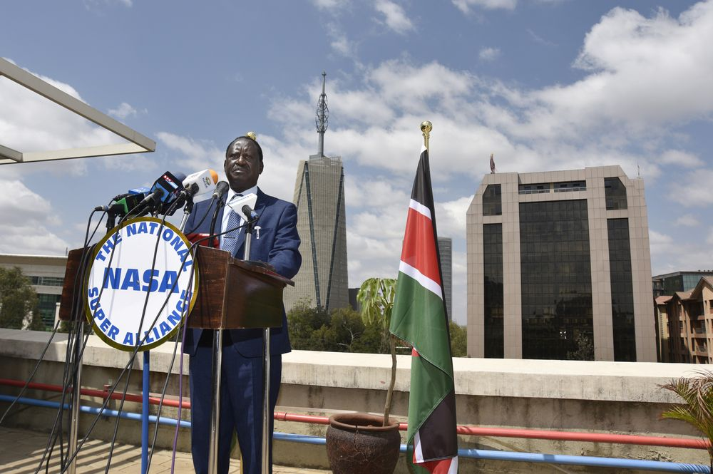 Raila Odinga, opposition leader and presidential candidate for the National Super Alliance (NASA), speaks during a news conference at his headquarters in central Nairobi, Kenya, on Thursday, July 20, 2017. Photographer: Riccardo Gangale/Bloomberg