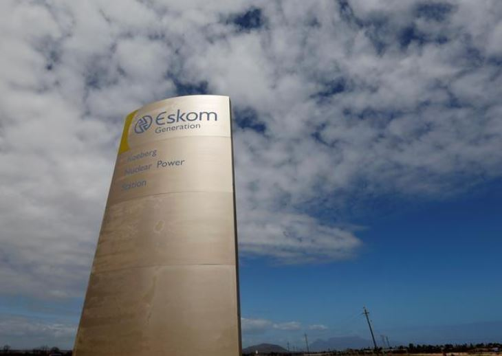 The logo of state power utility Eskom is seen outside Cape Town's Koeberg nuclear power plant in this picture taken March 20, 2016. REUTERS/Mike Hutchings/File Photo