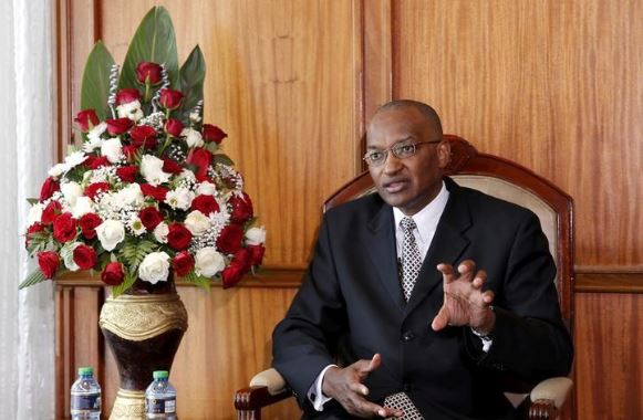 FILE PHOTO: Kenya Central Bank Governor Patrick Njoroge speaks during an interview with Reuters in his office in the capital Nairobi, Kenya December 8, 2015. REUTERS/Thomas Mukoya