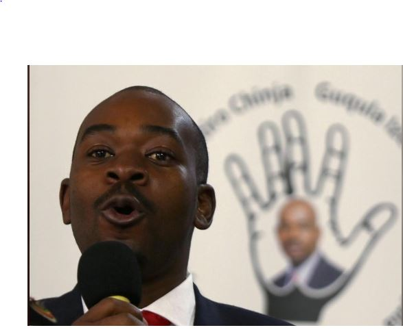Opposition Movement for Democratic Change (MDC) leader Nelson Chamisa speaks during the launch of his party's election manifesto in Harare, Zimbabwe, June 7, 2018. REUTERS/Philimon Bulawayo