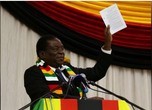 Zimbabwe President Emmerson Mnangagwa announces the date for the general elections in Harare, Zimbabwe May 30, 2018. REUTERS/Philimon Bulawayo