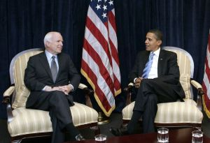 McCain with Obama in Chicago on Nov. 17, 2008. Photographer: Frank Polich/Bloomberg