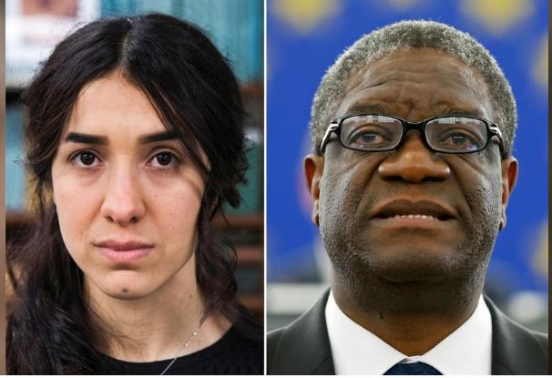 A combination picture shows the Nobel Prize for Peace 2018 winners: Yazidi survivor Nadia Murad posing for a portrait at United Nations headquarters in New York, U.S., March 9, 2017 (L) and Denis Mukwege delivering a speech during an award ceremony to receive his 2014 Sakharov Prize at the European Parliament in Strasbourg November 26, 2014. REUTERS/Lucas Jackson/Vincent Kessler/File photos