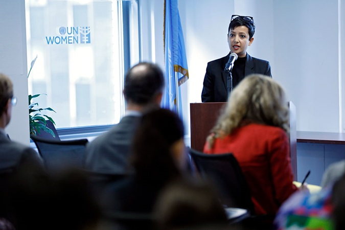 Executive Director of NGO Working Group on Women, Peace and Security, Kaavya Asoka speaks at an interactive forum on women, peace and security, on 23 October in New York. Photo: UN Women/Ryan Brown
